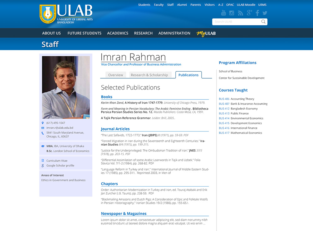 ULAB Faculty Page